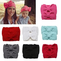2pcs Parent-child Bow-knot Headband Mom and Daughter Hairband Kids Warm Wool Knit Stretchable Baby Girl Hairband Hair Accessories