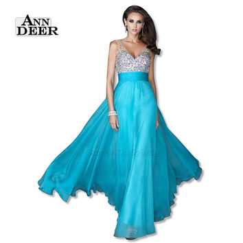 ANN DEER S108 Sexy Backless Deep V-Neck Chiffon Beaded Long Prom Dresses 2016 A-Line Prom Gown Formal Party Dress Robe De Soiree
