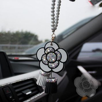 Crystal Camellia Car Decoration Mirror Pendant