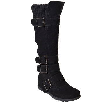 Womens Strappy Buckle Knee High Boots Black