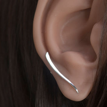 Minimalist Ear Pin Earrings, Sterling Silver Curved Bar Ear Sweep, Silver Stick Ear Cuff, Climbing Earring, Ear Crawler Up the Ear or Down