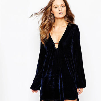 Dark Blue Loose Deep V-Front Long and Short Velvet Dress