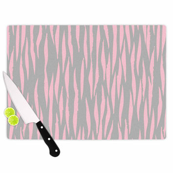 "Wildlife ""Pink Animal Print 12"" Gray Painting Cutting Board"