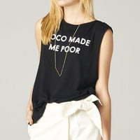 """COCO MADE ME POOR"" TANK - BLACK"