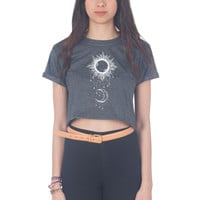 Boho Draping Moon and Sun Crop Shirt