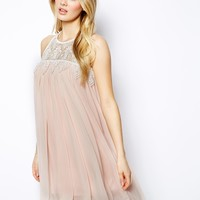 Lydia Bright Sleeveless Swing Dress With Lace Neck - Pale pink/cream l