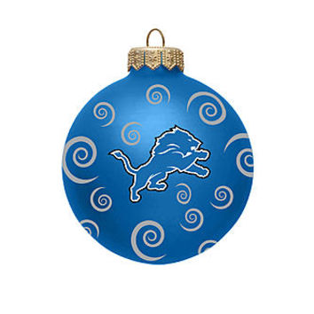 NFL Detroit Lions Ball Ornament with Swirls