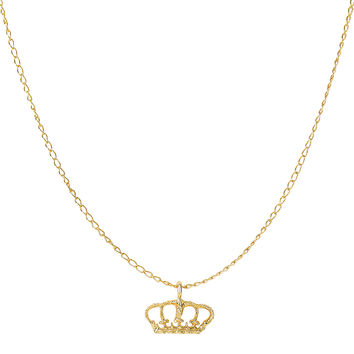 14K Yellow Gold Shiny Crown Pendant On 18 Inch Necklace
