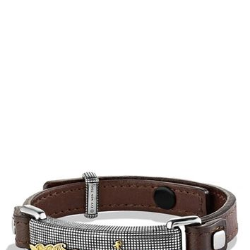 Men's David Yurman 'Waves' ID Bracelet in Brown with Gold - Two Tone/ Brown