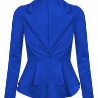 Valentine Royal Blue Peplum Blazer | Shelikes