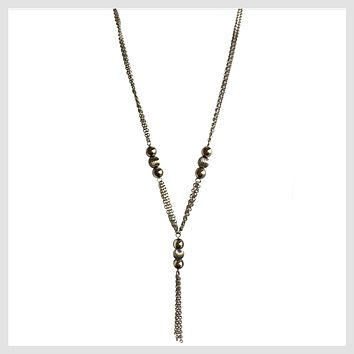 "Stainless Steel Long Necklace 29"" with Shiny Ball Accents and Tassel"