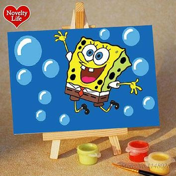 DIY Small Picture Painting By Numbers with Easel Spongebob Children Home Decor Canvas Oil Painit Kids Bed Room Living Wall Art