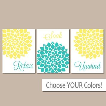 BATHROOM Wall Art, CANVAS or Prints, Floral BATHROOM Decor, Relax Soak Unwind Art, Yellow Turquoise Bathroom Pictures, Set of 3 Wall Decor