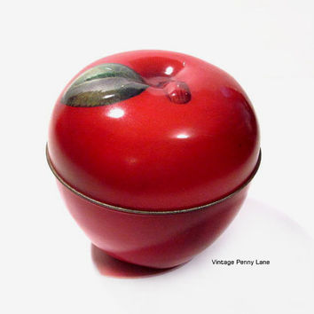 Vintage Apple Tin, Red Tin Box Canister Container, Metal Fruit