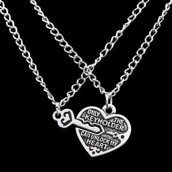2pc Key Unlock My Heart Lock Best Friend Necklace For Women Lover Fine Jewelry SM6