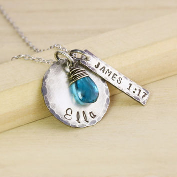 New Mom Necklace - Antiqued Rustic Mothers Necklace - James 1:17 Bible Verse - Push Present - New Baby Jewelry - Every Good & Perfect Gift