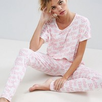 ASOS Barbie Logo Tee & Legging Pajama Set at asos.com