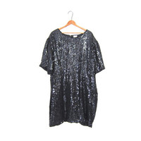 Vintage Black Sequin Mini Dress Cut Out Sexy Glam Beaded Silk Tunic Top Key Hole Shimmer 80s Oversized Plus Sized New Years Eve 26W XXL