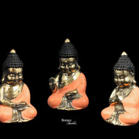 "Three Wise Little Buddhas 3.7-3.8"" Brass Buddha Figurines In Creamy Peach Cloak Buddism Art Offering Blessing&Protection Home Art Statuette"