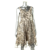 Vera Wang Womens Lace Sequined Cocktail Dress