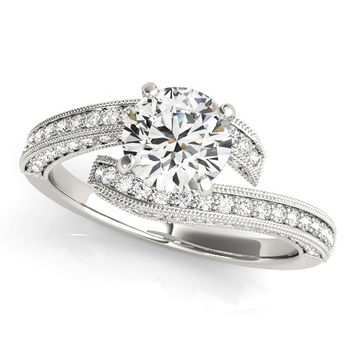 14K White Gold Round Diamond Bypass Style Engagement Ring (1 1/2 ct. tw.)