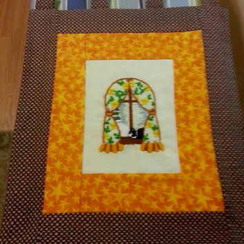 CAT in the WINDOW - Crewel Embroidery Wall Hanging - 16 x 16 Inches Autumn