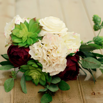 Spring Silk Wedding Bouquet in Plum and Cream with Succulent Hydrangea Ranunculus and Rose