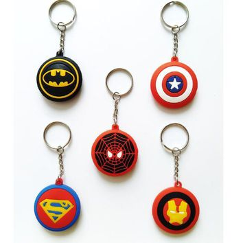 1set 12 pcs Batman superman spiderman Captain America avengers mix cartoon 3D Key Chains Bag Pendant Gifts Party Favors