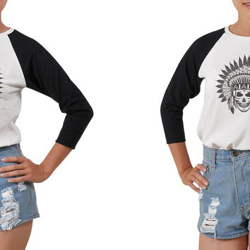 Women Skull wear indian headdress Printed T-shirt WTS_03