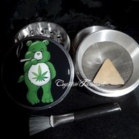 Weed Leaf Care Bear 4 Piece Herb Grinder Pollen Screen Catcher Scraper Brush