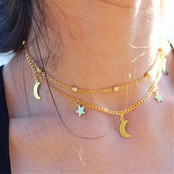 Star & Moon Choker Necklace Chain - Gypsy Boho Hippie Jewelry (Gold or Silver)
