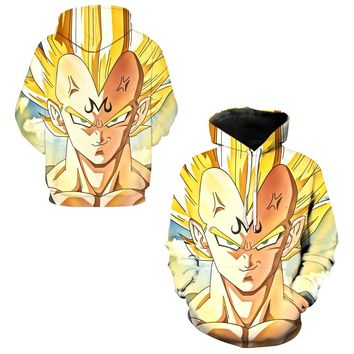 Majin Vegeta Sweatshirts Hooded Tops Men Autumn Exercise Skateboarding Hoodies Dragon Ball Z Vegeta Super Saiyan Hoody Pullovers