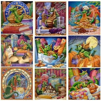 Drill Resin Ribbon coins Mosaic 5D Diy Embroidery Diamond Painting Cartoon Dragons 3D Cross Stitch Kits animal sticker decor