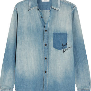 Saint Laurent - Oversized embroidered denim shirt