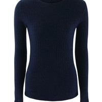 Navy Tie Up Back Tight Ribbed Knit Sweater