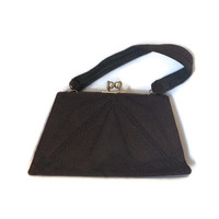 1940s Purse, Vintage Brown Genuine Corde Framed Handbag with Original Pocket Mirror