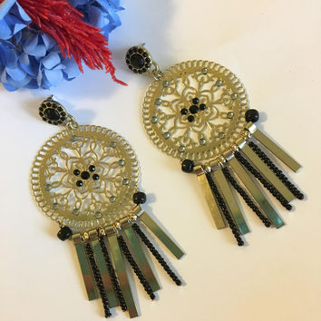 Gold Medallion Earrings Gypsy Boho Tribal Lacy Filigree Circle Earrings With Dangles Belly Dance Cosplay Drama Period Costume Jewelry