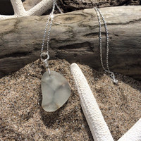 Sea Glass Embedded Wire Beach Glass Necklace Upcycled Jewelry Glass Pendant Sterling Silver Chain Nautical Eco Friendly Lake Erie