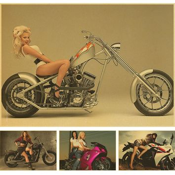 Dropship Rider Vintage Paint Kraft Paper Poster motorcycle Retro Bar Cafe Living Room Wall Art Crafts paper picture