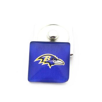 New Arrival 10pcs/lot football glass 20mm square Baltimore ravens Snap Buttons Charms Fit Snap Bracelet Pendant DIY Jewelry