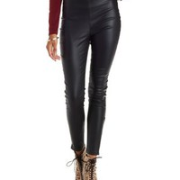 Black Faux Leather Skinny Pants by Charlotte Russe