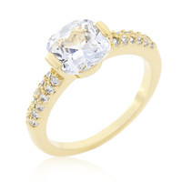 Clear Cushion Cut Cubic Zirconia Engagement Ring, size : 09
