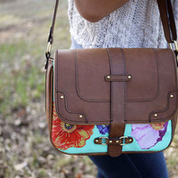 Messenger XL size Floral shoulder bag