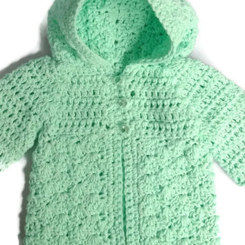 Crochet Baby Sweater, Cotton Baby Girl Clothes, Crochet Baby Clothes, Baby Girl Sweater,  Hooded Baby Sweater, Kid Clothes Baby