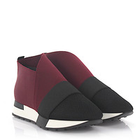 Balenciaga Women Burgundy Slip-On Runner Sneaker