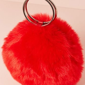 Faux Fur Round O-Ring Clutch