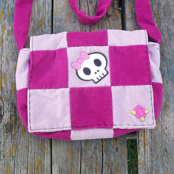 Pinks Recycled Corduroy Crossbody Purse Skull Patch Long Strap