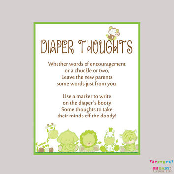 Diaper Thoughts Game Safari Baby Shower Gender Neutral - Printable Download - Write on Diaper Message Game, Words for Wee Hours - BS0001-G