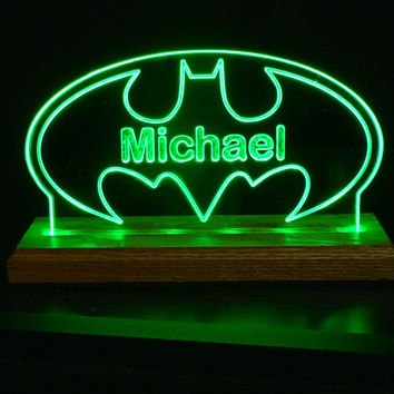 Batman USB Personalized Desk Table Sign *Can be used with adapter for wall outlet