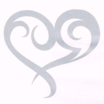 Etched Glass Heart Car Decal